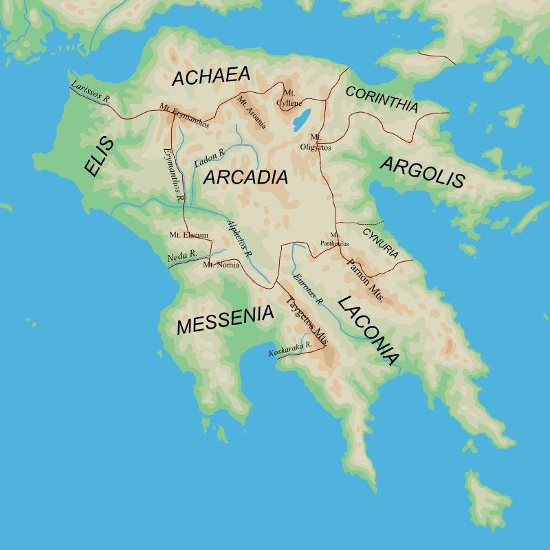 Map of Territory Surrounding Ancient Sparta