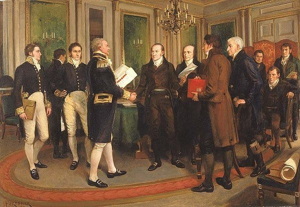 The signing of the Treaty of Ghent
