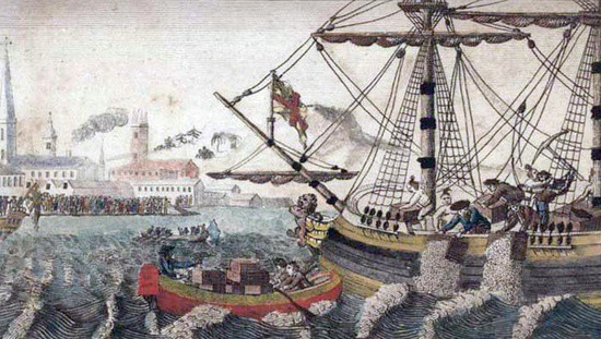 throwing tea into Boston Harbor