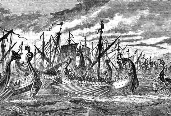 Greek triremes at Salamis