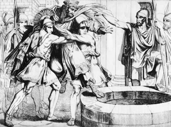 Spartans throwing Persian envoys into a well