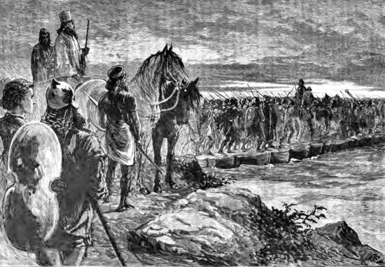 Xerxes crossing the Hellespont.