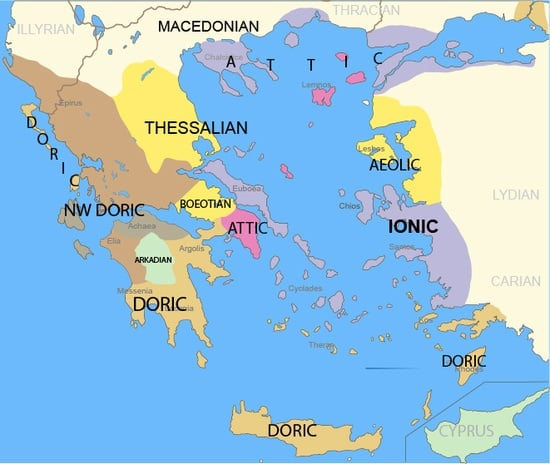 Map of ancient Greek dialects