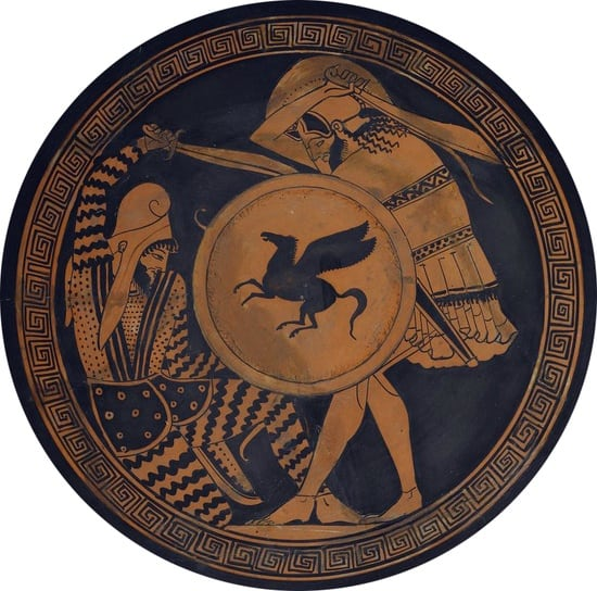 Ancient Kylix hoplite and persian fighting.